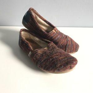 Striped Knit Toms Slip-on Flats 9